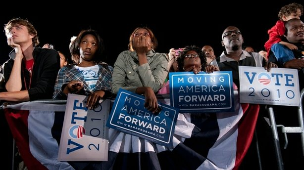 Supporters listen as President Obama speaks during a rally for the Democratic National Committee at Ohio State University in Columbus on Sunday, Oct. 17, 2010.