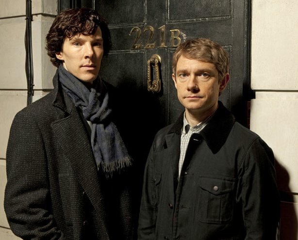 "Benedict Cumberbatch as Sherlock Holmes and Martin Freeman as Dr. Watson in the television series ""Masterpiece Mystery! Sherlock."""