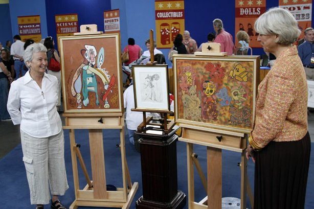 At ANTIQUES ROADSHOW in Tucson, Arizona, appraiser Colleen Fesko of Skinner (right) proves she&#39;s an insider when she discovers a trio of paintings by 20th-century French &quot;outsider &quot; artist Gaston Chaissac. The artist never fit into a standard style, using anthropomorphic shapes, pre-historic images, children&#39;s art images, with a strong Picasso influence throughout his pieces. Purchased by the owner&#39;s parents at an art gallery in Paris in the early 1960s, this collection of later Chaissac works is given an auction value of $50,000 to $100,000.