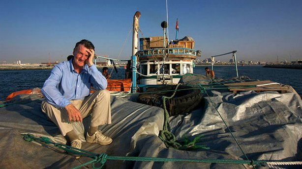 Promotional photo of Michael Palin on a boat from &quot;Around The World In 80 Days - 20 Years On.&quot;