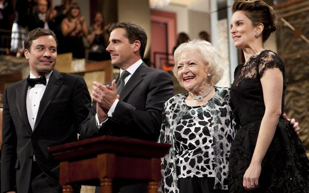 Pictured: Jimmy Fallon, Steve Carell, Betty White and Tina Fey. This fall, The Kennedy Center Mark Twain Prize salutes Tina Fey with a star-studded cast of Fey's friends and colleagues.