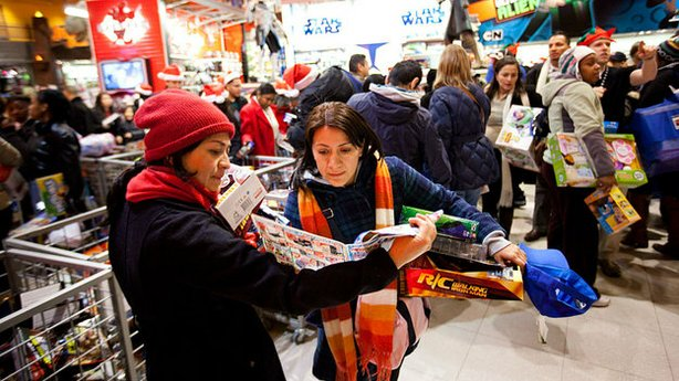 Shoppers look for bargains at Toys 'R' Us on Thanksgiving Day, November 25, 2010, in New York City.  The stores, which opened nationwide at 10PM, will remain open for 24 hours for Black Friday.