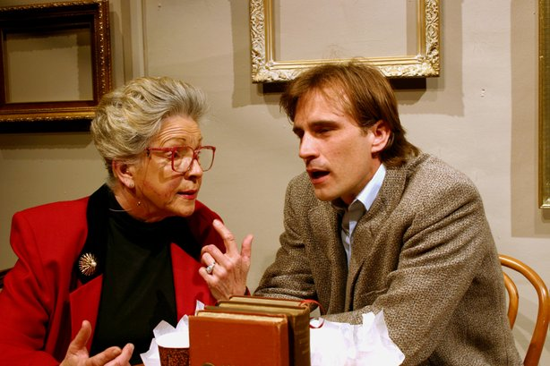 "Sandra Ellis-Troy as Gladys Green and Francis Gercke as David in the New Village Arts production of ""The Waverly Gallery."""