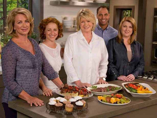"The cast from season six of ""Everyday Food"" from left to right: Lucinda Scala Quinn, Sarah Carey, Martha Stewart, John Barricelli and Anna Last."