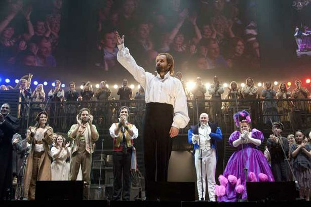"Alfie Boe as Jean Valjean in the ""Les Misérables"" anniversary concert at the O2 Arena in London."
