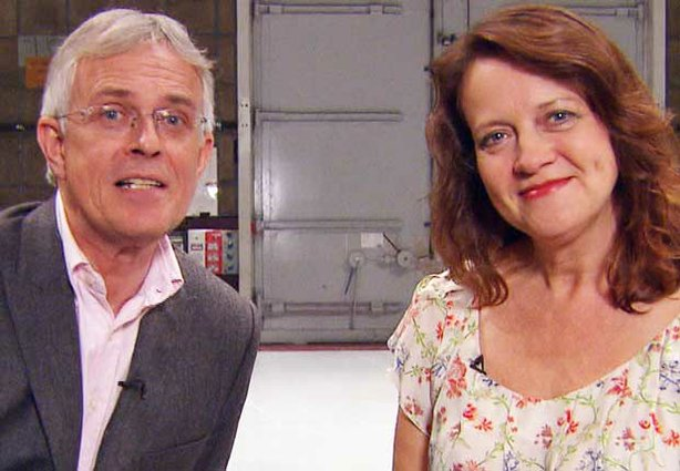 "Philip Bretherton and Moira Brooker, hosts of ""Behind The Britcom: From Script To Screen."""
