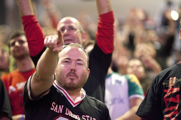 The crowds at Viejas Arena were cheering in support of the SDSU Aztecs men&#39;s basketball team who played the University of Northern Colorado in the first round of the NCAA tournament. The actual game took place in Tucson, AZ. 