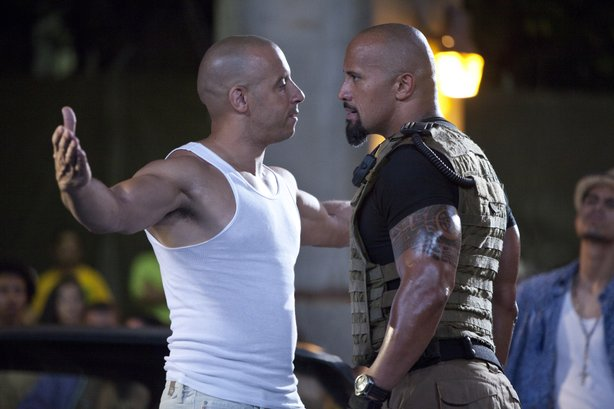Just how much testosterone can you pack into one movie? Vin Diesel and Dwayne &quot;The Rock&quot; Johnson square off in &quot;Fast Five.&quot;
