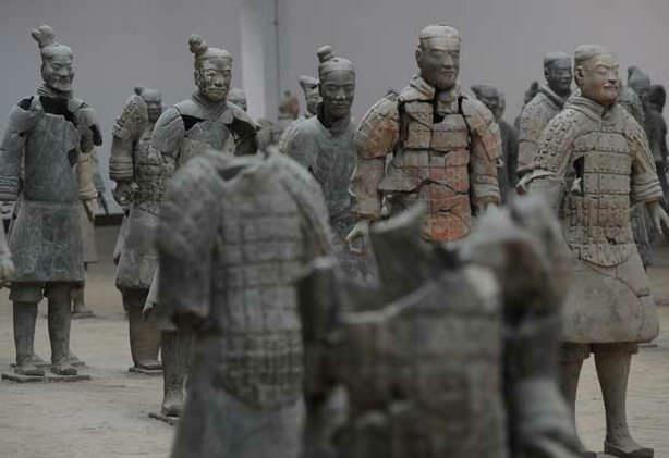 Terracotta warrior figures displayed at the rear part of pit one. These figures have been restored and are the subject of &quot;China&#39;s Terracotta Warriors.&quot;