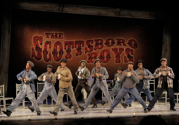 The Broadway cast of &quot;The Scottsboro Boys,&quot; which earned 12 Tony Award nominations Tuesday. The controversial musical comes to The Old Globe next April.