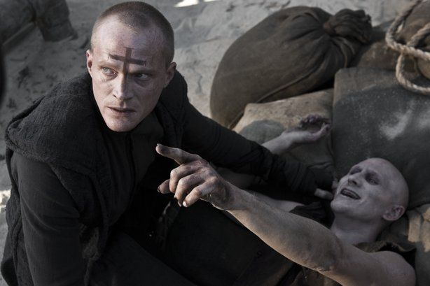 "Paul Bettany stars as a vampire hunting priest in the film adaptation of the Korean manhwa (comic book) ""Priest."""