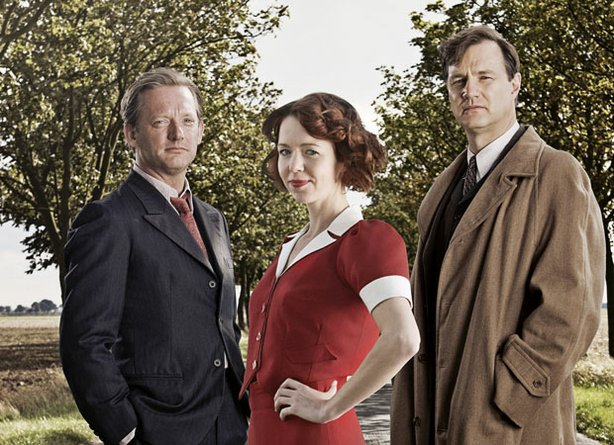"""South Riding"" cast (L-R): Douglas Henshall as Councilor Joe Astell, Anna Maxwell Martin as Sarah Burton, and David Morrissey as Robert Carne."