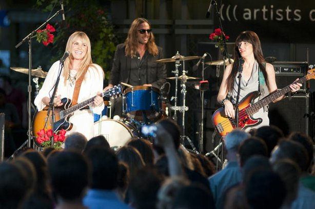 (l to r): Grace Potter, Matt Burr and Catherine Popper perform on August 19, 2010 at Bryant Park, New York, N.Y. for LIVE FROM THE ARTISTS DEN.