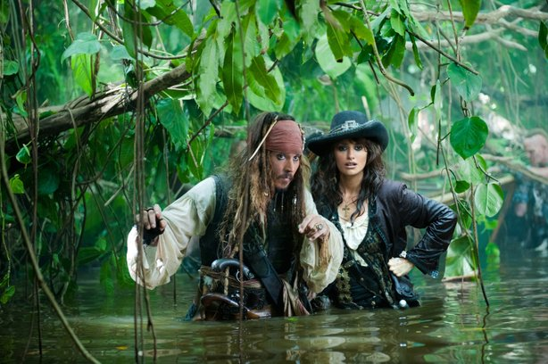 "Johnny Depp is joined by Penelope Cruz in ""Pirates of the Caribbean: On Stranger Tides."""
