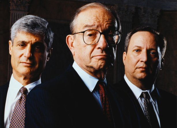 (L to R) Robert Rubin, U.S. Secretary of the Treasury, 1995-1999; Alan Greenspan, chairman of the Federal Reserve, 1987-2006; and Lawrence Summers, U.S. Secretary of the Treasury, 1999-2001. FRONTLINE sifts through the ashes of the economic meltdown for clues about why it happened, examining critical moments when it might have gone much differently by looking back into the 1990s to discover early warnings of the crash.