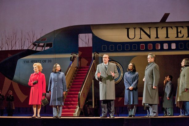 "Janis Kelly as Pat Nixon, Teresa S. Herold as the Second Secretary to Mao, James Maddalena as Richard Nixon, Ginger Costa Jackson as the First Secretary to Mao, Russell Braun as Chou En-lai in Adams' ""Nixon In China."""