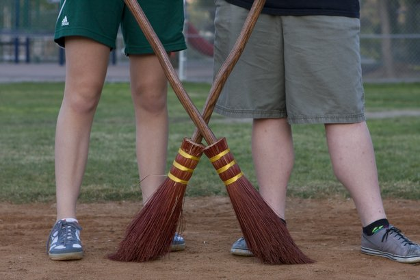These Helix High Quidditch players have brooms modeled after the Harry Potter brooms.