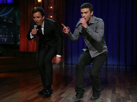 Jimmy Fallon and Justin Timberlake doing a second version of the history of rap.