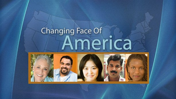 "Title graphic for Envision San Diego's television documentary, ""Changing Face Of America."""