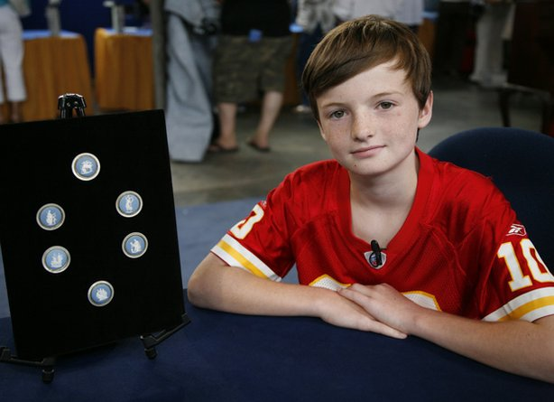 "This young man paid a visit to ""Antiques Roadshow"" in Hartford, Connecticut, with a collection of buttons found in his grandmother's attic. Appraiser Nick Dawes identifies them as 200-year-old Wedgwood pottery buttons and advises keeping the set together for a value of $1,500 to $2,000."
