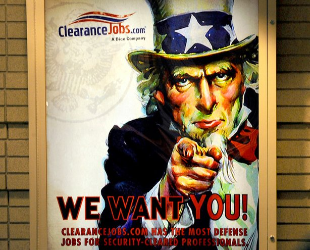 Poster advertising jobs for security cleared professionals, Crystal City, Virginia.