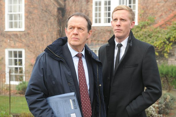 (L to R): Kevin Whately as Inspector Lewis and Laurence Fox as Detective Sergeant James Hathaway.