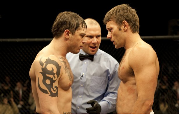 "Brothers (Tom Hardy and Joel Edgerton) face off in ""Warrior."""