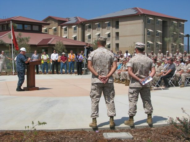 The opening of the newest Marine Corps barracks on Camp Pendleton is part of a multi-billion-dollar upgrade for service members' barracks throughout the San Diego region. Solar panels on the roof provide 6 percent of the facility's energy.