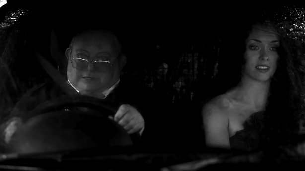 "Laurence R. Harvey as Martin and Ashlynn Yennie in ""The Human Centipede 2 (Full Sequence)."""