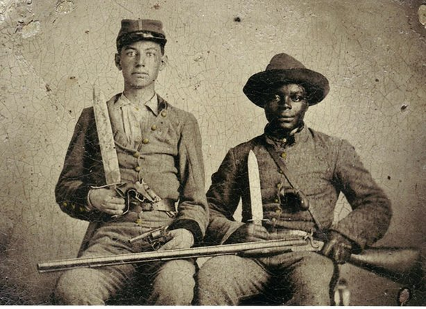 This one of a kind Civil War photograph is at the center of a hot debate over whether black men fought for the Confederate Army. Was Silas Chandler, the black man pictured here in a Confederate uniform, slave or free? What was the relationship between these two men?