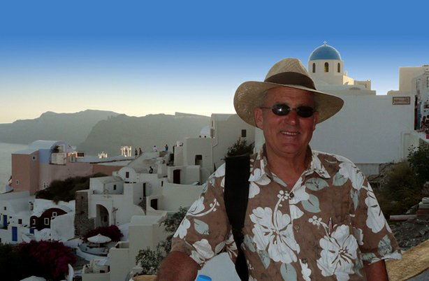 Host Joseph Rosendo enjoys a Grecian sunset on the island of Santorini.