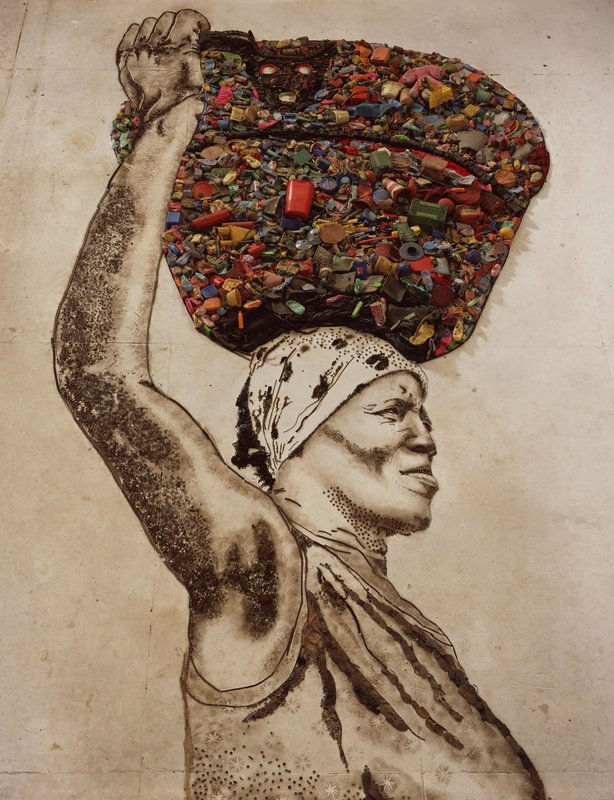 A portrait of a garbage picker from Brazil by internationally acclaimed artist Vik Muniz.