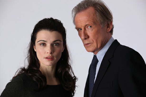 Rachel Weisz as Nancy Pierpan and Bill Nighy as Johnny Worricker in &quot;Page Eight.&quot;