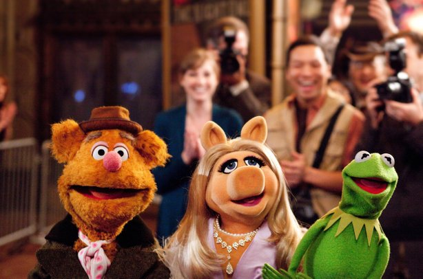 "Fozzie Bear, Miss Piggy, and Kermit are back on the big screen in ""The Muppets."""