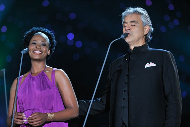 Soprano Pretty Yende joins tenor Andrea Bocelli in a free concert on Central Parks Great Lawn.