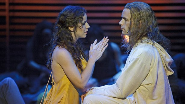 "Chilina Kennedy as Mary Magdalene and Paul Nolan as Jesus in ""Jesus Christ Superstar,"" currently running at The La Jolla Playhouse before it heads to Broadway. Photo by David Hou."