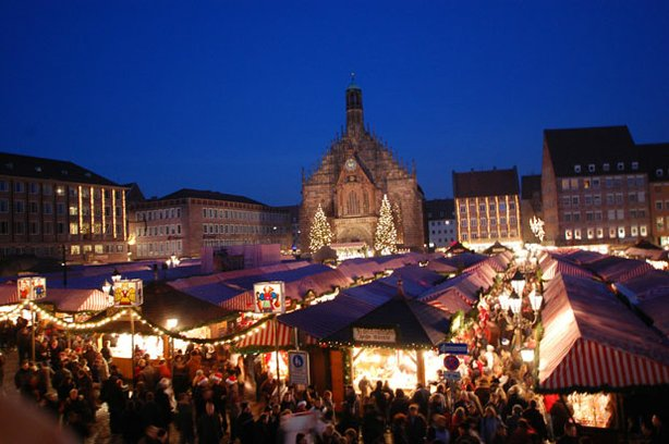 Nuremberg Christmas market at night