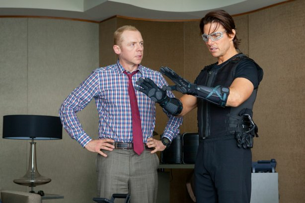 "Simon Pegg and Tom Cruise on a covert assignment in ""Mission Impossible: Ghost Protocol."""