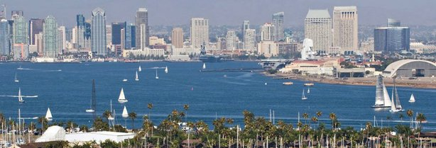 A view of the San Diego skyline from across the bay.