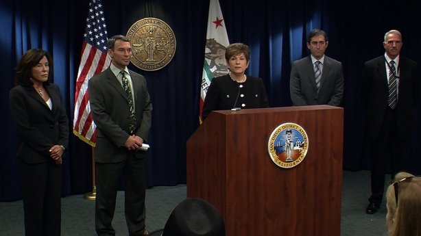 San Diego District Attorney Bonnie Dumanis announces charges against current and former Sweetwater school district officials, Jan. 4, 2012.