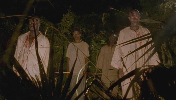 "The zombies of ""The Dead"" recall Romero's zombies in ""Night of the Living Dead"" and the voodoo controled people in ""I Walked with a Zombie."""