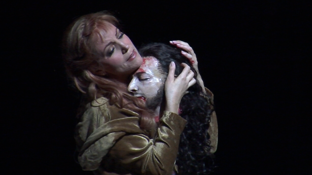 Lise Lindstrom and the head of John the Baptist in &quot;Salome.&quot;