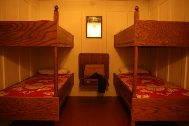 A recreation of a third class cabin from the Titanic, currently on view at the San Diego Natural History Museum. 