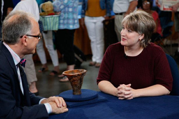 "At ""Antiques Roadshow"" in Pittsburgh, Pa., veteran Asian arts expert Lark Mason appraises a 17th-century Chinese carved rhinoceros horn cup. Originally purchased for $1 by the owner's husband at a flea market, Mason assigns a much more substantial value at $350,000-$450,000."