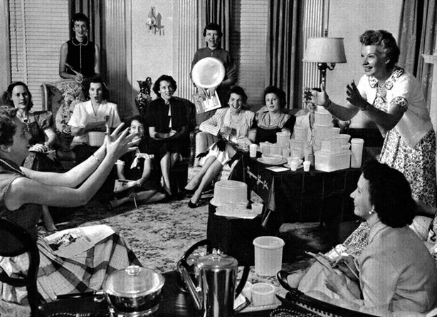 Here, marketing genius Brownie Wise (right) tosses a bowl filled with water at a Tupperware party.