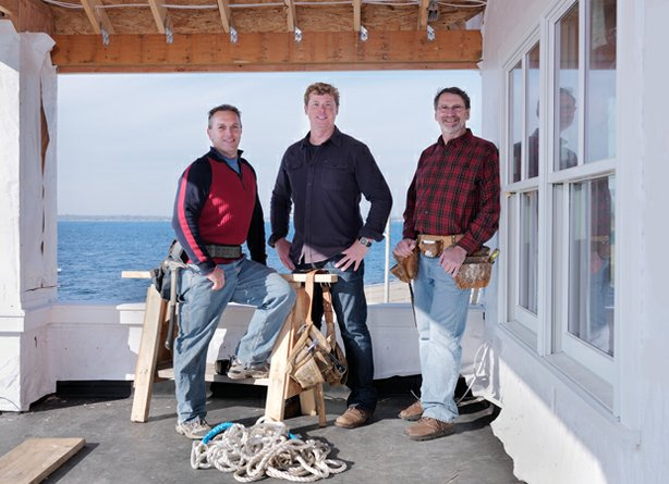 Rhode Island general contractor Andy Tiplady, host Kevin O&#39;Connor and master carpenter Norm Abram at the Barrington, Rhode Island, beach house, a 1925 modified Cape that boasts spectacular views of scenic Narragansett Bay.