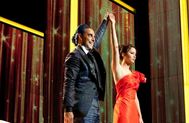 "Stanley Tucci and the glamorous, not emaciated-looking Jennifer Lawrence in ""The Hunger Games."""