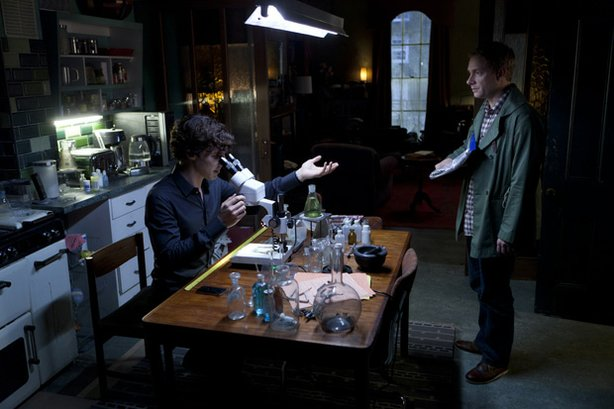 Benedict Cumberbatch as Sherlock and Martin Freeman as Watson in season two of MASTERPIECE MYSTERY! SHERLOCK.