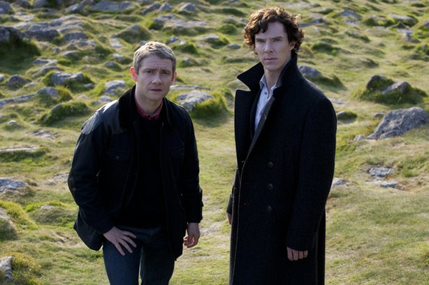 "Martin Freeman as Watson and Benedict Cumberbatch as Sherlock in ""The Hounds Of Baskerville."""