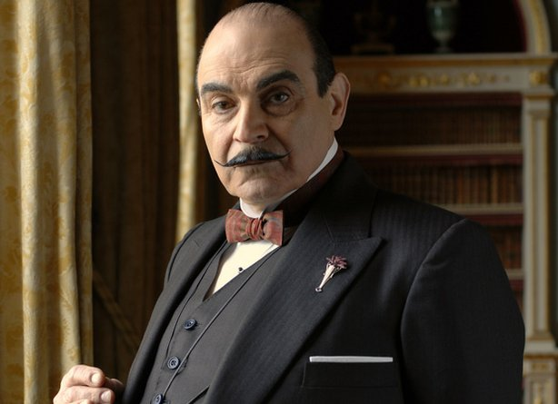 David Suchet in his signature role as suave Belgian super sleuth Hercule Poirot.